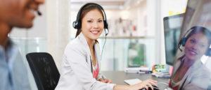 Woman on phone - customer service