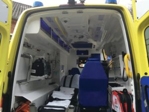 The interior of a Danish ambulance
