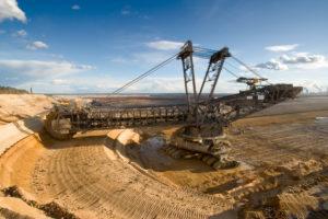Mining excavators in open pit
