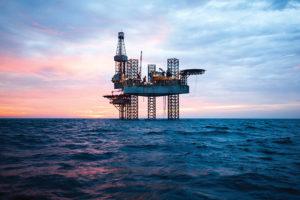 Oil rig evening sunset