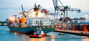 Container ship in harbour