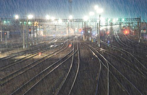 Rainy trainyard