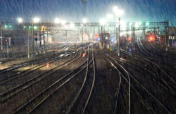 Rainy evening at the train yard