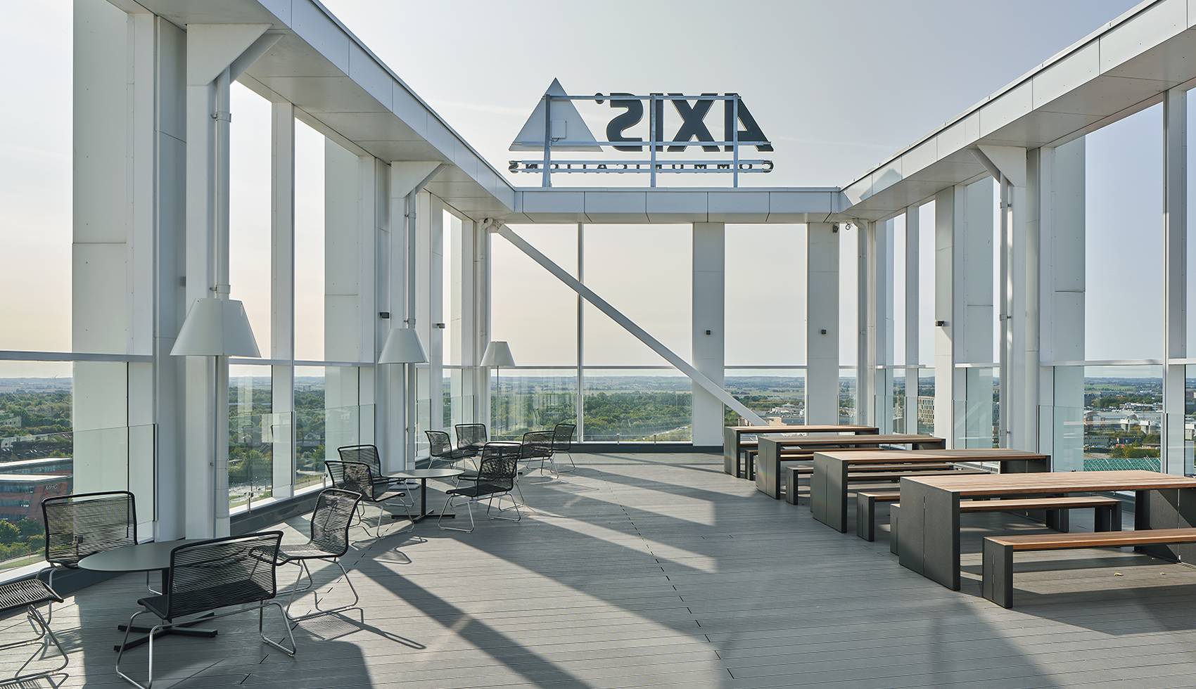 The outdoor terrace on the tenth floor – with a magnificent view of the city of Lund.