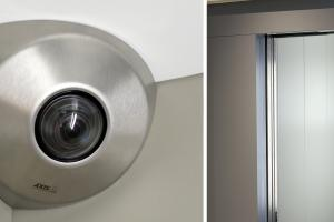 AXIS P9106-V Network Camera Brushed Steel model as a design that is perfect for blending into the aesthetic in elevators