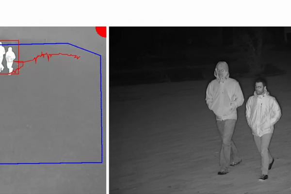 Nighttime images from a fixed thermal camera (left) and a PTZ camera (right) illustrate results from the pairing of the two cameras with AXIS Perimeter Defender PTZ Autotracking