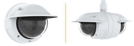 AXIS P3807-PVE Network Camera and AXIS T94V01C Dual Camera Mount accessory. When coupled, the solution offers full 360° coverage