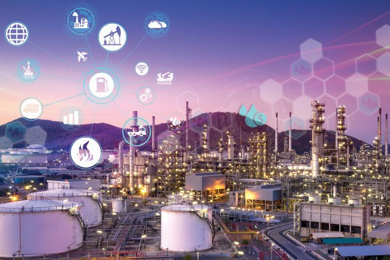 Gas oil refinery system with purple icons and a hexagon pattern above the picture
