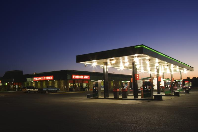 Gas station exterior in the evning