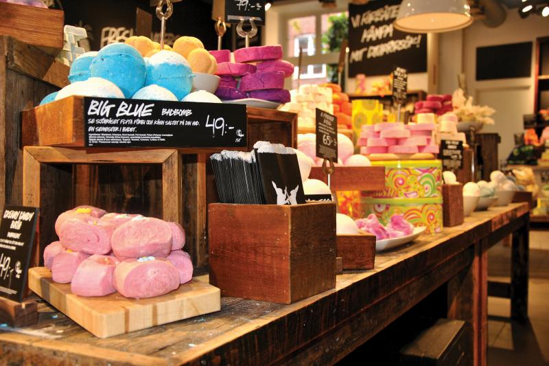 Soaps on shelves at LUSH store