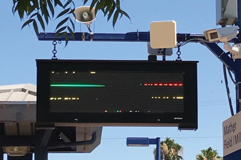 Digital pole sign with network camera and horn speaker mounted on the side
