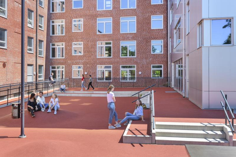 kids playing on a school yard