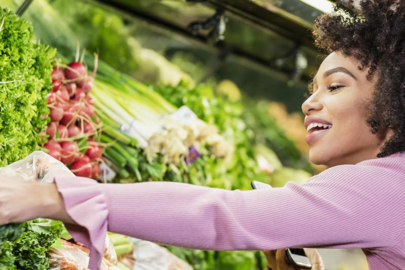 Woman shopping vegetables