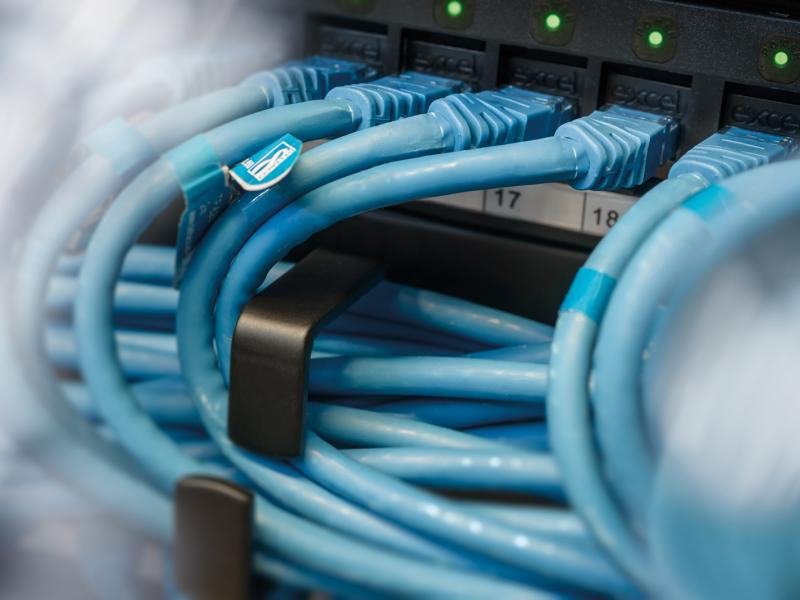 Close Up on network cables in blue color