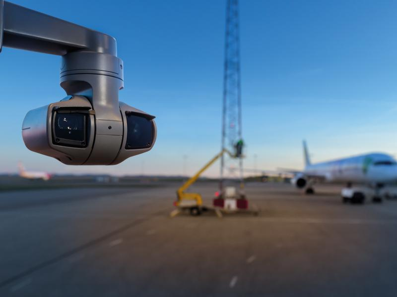 Axis IP Camera le has long-range OptimizedIR (400 m/ 1300 ft range). The camera from outside on a airport