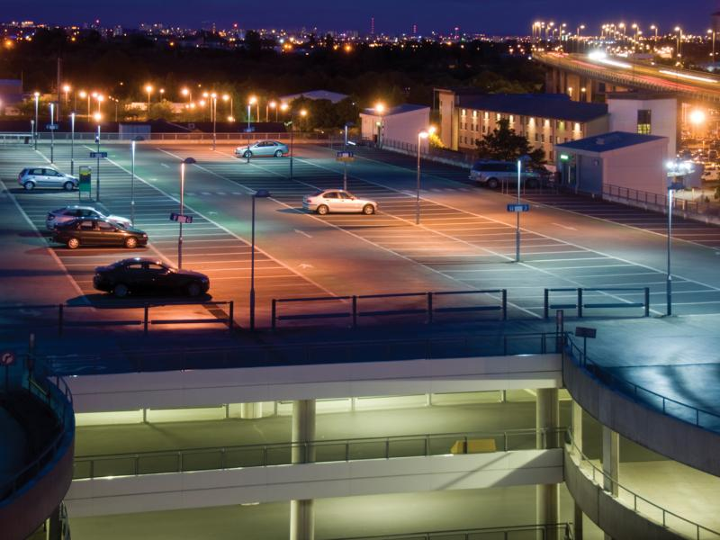 Axis IP camera vieweing an empty parking garage top at night