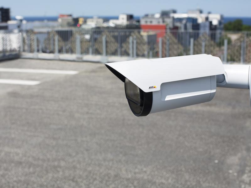 AXIS Q17 camera in an outdoor environment, with overview over a parking deck