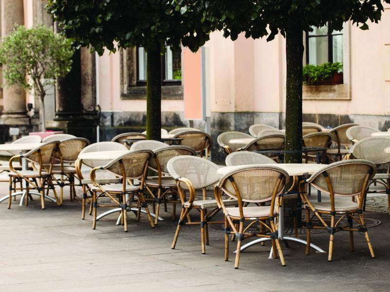 Café with chairs in an outdoor environment