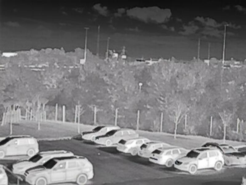 AXIS Q1941-E Thermal IP Camera at parking lot sunny but cold