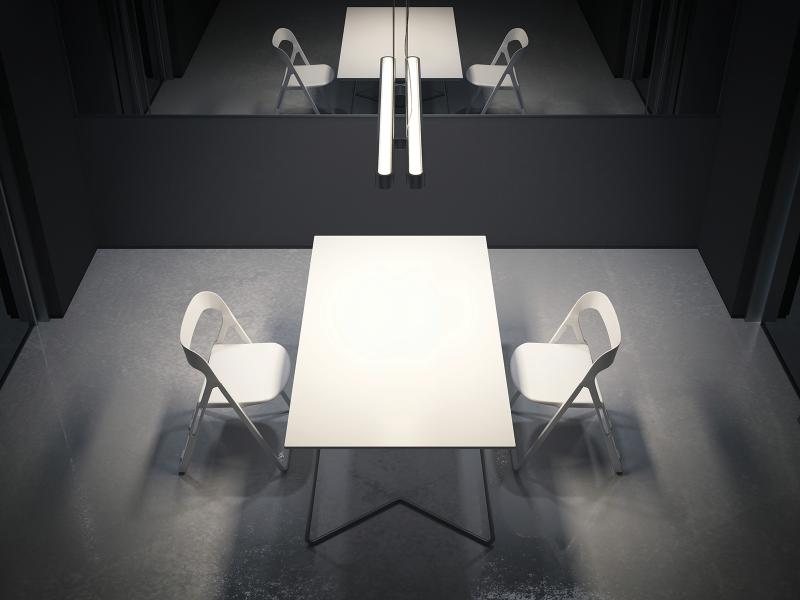 interrogation room table 2 chairs mirror