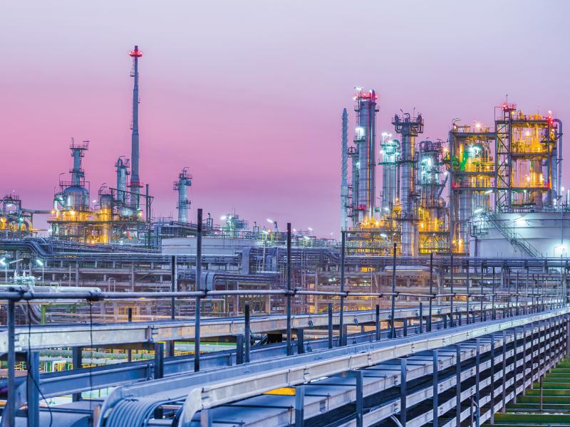 petrochemical plant, twilight in purple