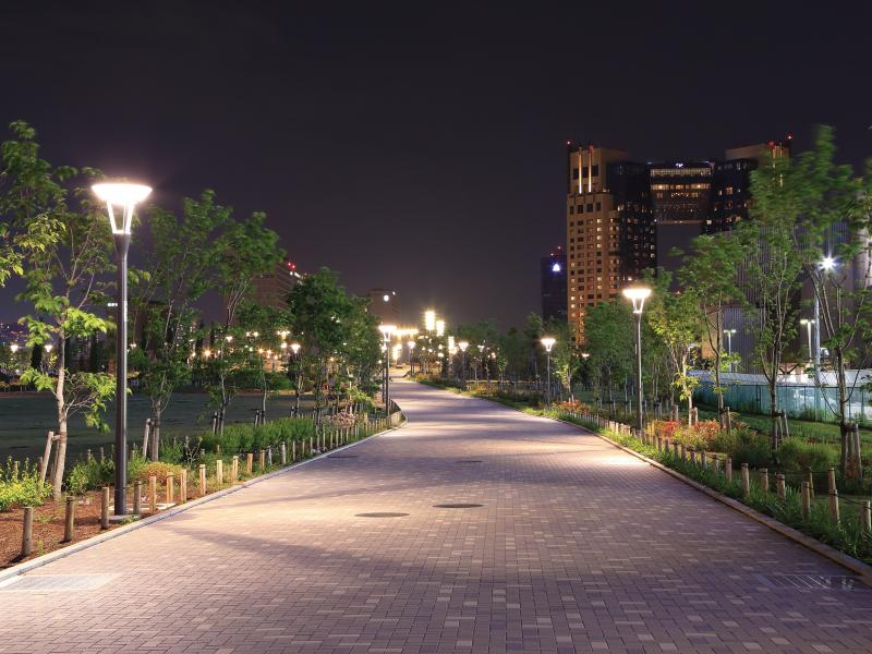 A city park pathway in the evening, with the pathway lights turned on