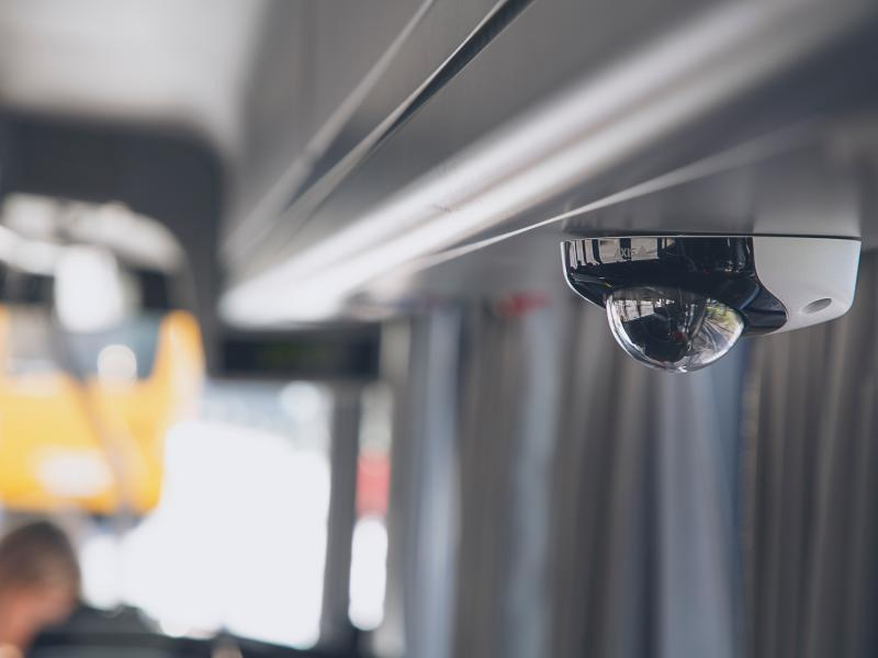 AXIS P3935-LR IP Camera mounted on a bus