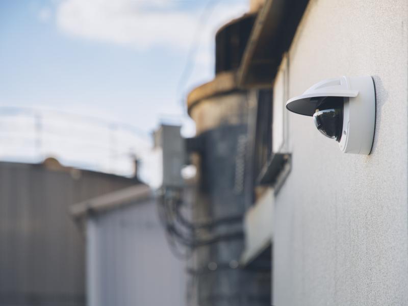 AXIS Network Camera on industrial facade.