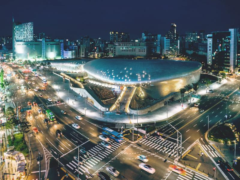 Sky view of sport stadium in Seoul, Korea in the nigth