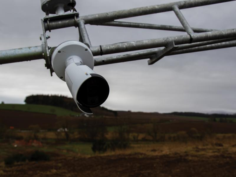 Close-up of network camera on a pole