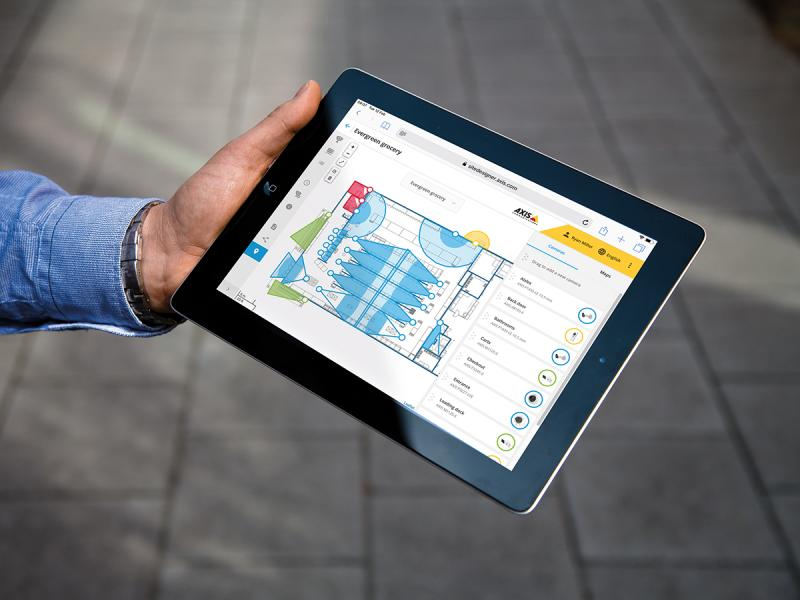 ipad with axis site designer viewing on the screen