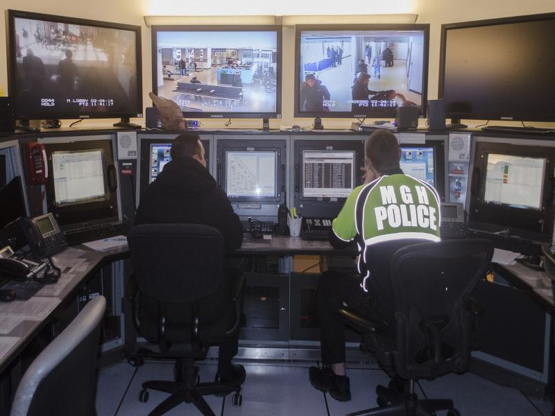 Operators in video security room