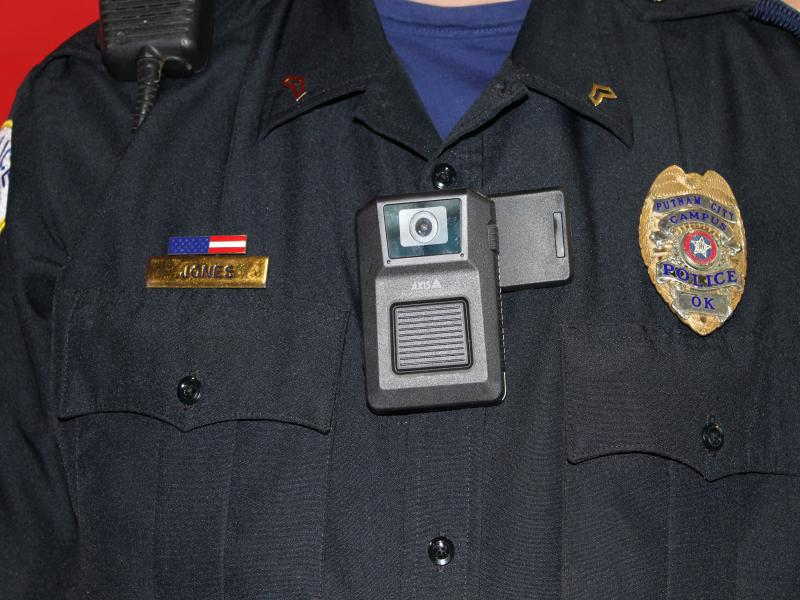 Close up of body worn camera on officers chest