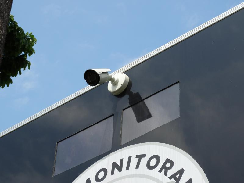 Outdoor camera on building wall
