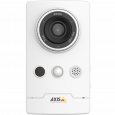 AXIS M1065-L IP camera has built-in microphone and mini-speaker. The camera is viewed from its front.