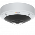 AXIS M3058-PLVE mounted in ceiling. The camera features a stereographic lens.