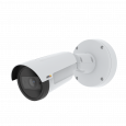 AXIS P1455-LE is an outdoor-ready fixed bullet IP camera with Lightfinder and Forensic WDR. The camera is viewed from its left angle.