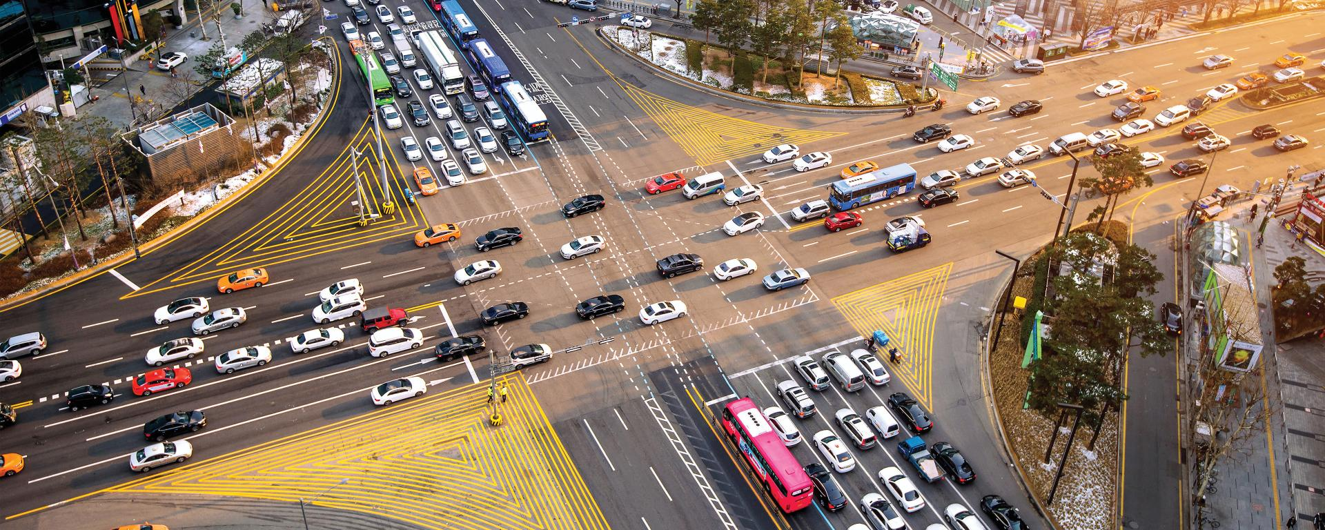 Busy traffic intersection in Gangnam Korea