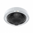 The IP camera AXIS P3719-PLE mounted to the ceiling, viewed from its front.