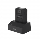 AXIS W700 Docking station 1-bay from left with AXIS W100 body worn camera