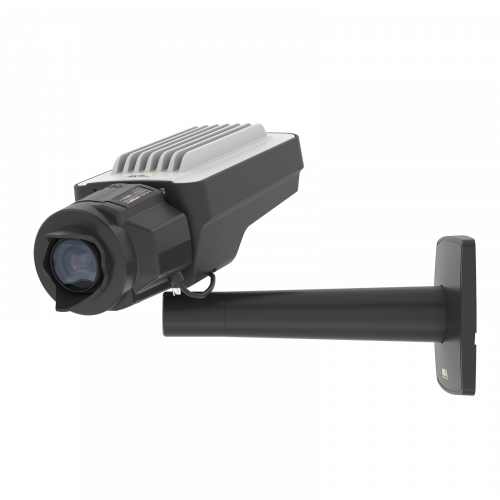 AXIS Q1645 IP Camera has Forensic WDR, Lightfinder and Zipstream. The product is viewed from its left angle.