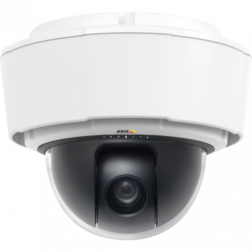 IP Camera AXIS P5512-E has 360° pan with Auto-flip and 12x optical zoom. The camera is viewed from it´s front.