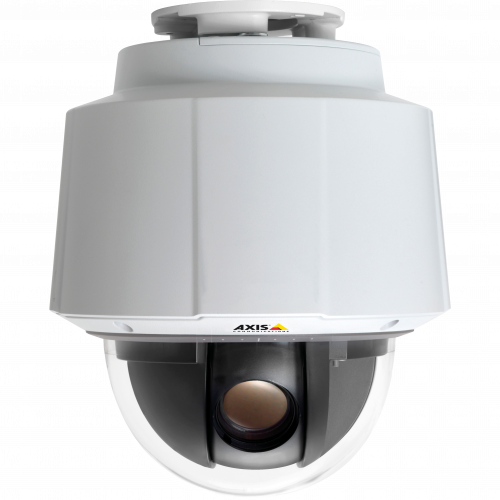 IP Camera AXIS Q6045 has Shock detection and power over ethernet plus (IEEE 802.3at). Viewed from it´s front