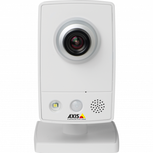 IP Camera AXIS M1033-W has multiple H.264 streams and microphone and speaker. The camera is viewed from it´s front.