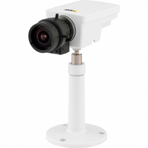 IP Camera AXIS M1114 has varifocal DC-iris lens and multiple H.264 streams. The camera is viewed from it´s left.