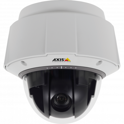 IP Camera AXIS Q6044-E has electronic image stabilization, vandal-resistant and shock detection. Viewed from front.