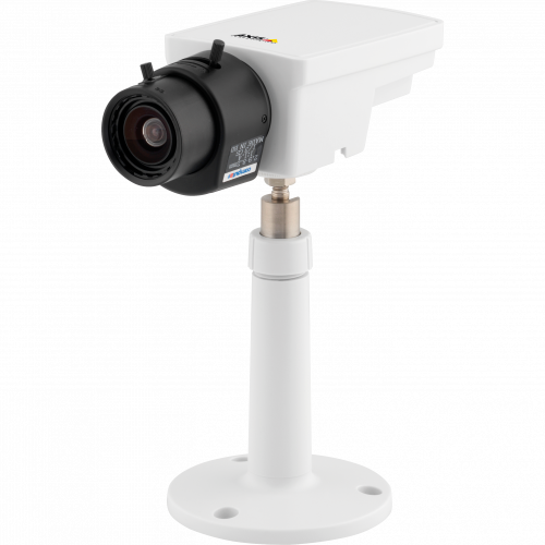 IP Camera AXIS M1113 has varifocal DC-iris lens and power over ethernet. The camera is viewed from it´s left.