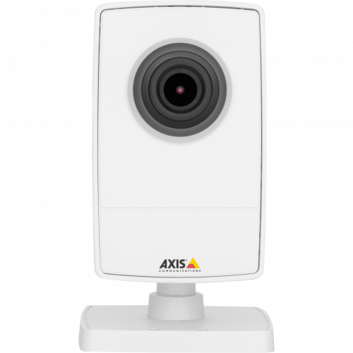 AXIS M1025 is a small network camera with HDMI™ and edge storage. The camera is viewed from its front.