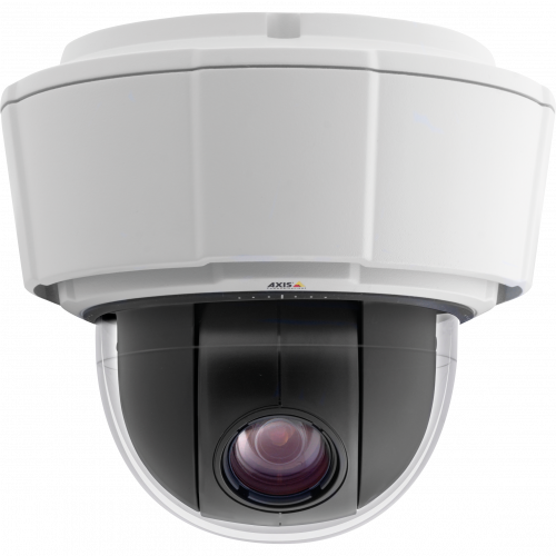IP Camera AXIS P5522 is outdoor-ready with IP66 and NEMA 4X ratings and advanced gatekeep. The camera is viewed from front.