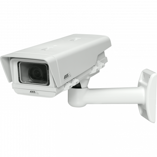 IP Camera AXIS M1114-E has easy installation with pixel counter and power over ethernet. The camera is viewed from it´s left.